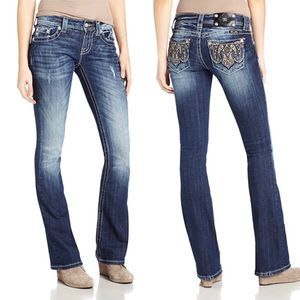 Miss Me | Mid Rise Paisley Bootcut Jean